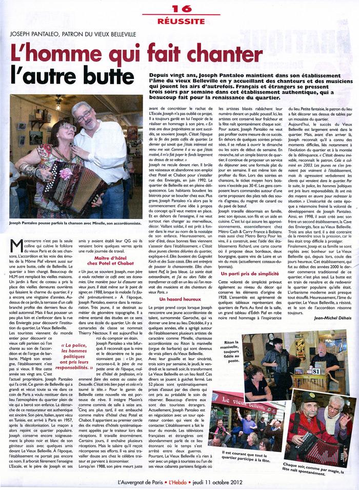 """Le Vieux Belleville à l'honneur dans """"L'Auvergnat"""""""