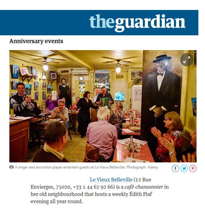 Edith Piaf au Vieux Belleville dans The Guardian